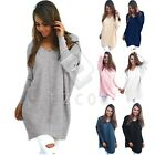 Women Casual Long Sleeve Sweater V-Neck Loose Pullover Winter Jumper Tops Dress