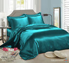 TEAL 6 PCS Satin Silk Duvet cover Bedding set with fitted sheet & 4 Pillow case