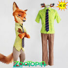 Zootopia Fox Nick Wilde COSplay Costume Uniform Outfit Suit T Shirt Ears Tail
