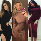 Women Sexy Bodycon Bandage Slim Evening Cocktail Party Long Sleeve Pencil Dress
