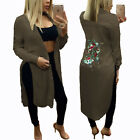 Women Long Sleeve Embroidery Floral Button Blouse Split Maxi Long Shirt Dress