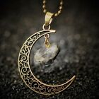 Handmade Natural Amethyst Rose Quartz Antique Bronze Galaxy Moon Pendant Necklac