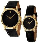 Kyпить Movado Museum Black Dial Gold Black Leather Mens 2100005 / Womens 2100006 Watch  на еВаy.соm