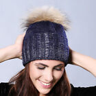 Women Ladies' Hat Real Raccoon Fur Pom Pom Thin Knitted Ball Hat Xmas Cap Warm