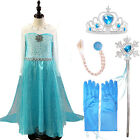 Frozen Princess Dress Girls Queen Elsa Cosplay Costume Party Dress Free Else Set