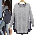 Women Long Sleeve Tops Casual T-shirt Long Tunic Asymmetric Loose Blouse New