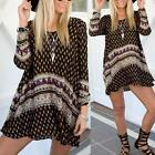 Vintage Women Loose Mini Dresses Bohemian Boho Summer Beach Long Sleeve Sundress