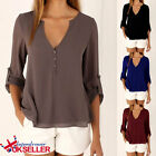 Womens Tops Chiffon Blouse Long Sleeves Plus Size ladies Casual Loose T Shirts