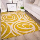 Ochre Mustard Yellow Gold Flower Floral Rose Pattern Living Room Bedroom Rug