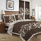 Duvet Cover with Pillow Case Quilt Cover Bedding Set Frilled edge Chelsea Brown