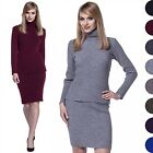 Glamour Empire. Women's Knitted Bodycon Co-ord Top Skirt Turtle Neck Ribbed. 489