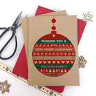 6/10 Luxury personalised kraft christmas cards BAUBLE MERRY CHRISTMAS envelopes