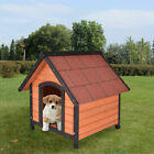 New Dog House Pet Outdoor Bed Wood Shelter Home Weather Kennel Waterproof 4 Size