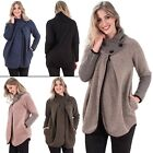 New Womens Two Button Funnel Neck Chunky Knit Cocoon Jacket Coat Size 10 12 16 L