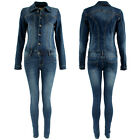Womens Denim Jumpsuit Overall One Piece Stretch Slim Fit Play-suit WAVERLY Wash