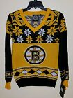 Official NHL KLEW BOSTON BRUINS HOCKEY UGLY CHRISTMAS SWEATER Womens V Neck