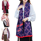 STON Womens Lady Warm Soft Rendering Grid Luxurious Feel Winter Scarf Pashmina