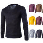 New Top Men's Fashion V Neck Slim Fit Long Sleeve Knit Cardigan Pullover Sweater