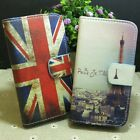 Retro Eiffel Tower UK Flag Wallet Pouch Stander flip case cover for Sony Phone