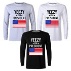 Kanye West Yeezus Tee Yeezy For President Long Sleeve Mens T-Shirt New Top