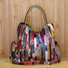 Women Large Mixed Color Leather Fringe Shoulder Bag Travel Messenger Bag Handbag