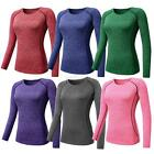 Women Sports Compression T-Shirts GYM Yoga Athletic Long Sleeve Tee Shirt Top