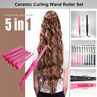 5 in 1 Multifunction Hair Curler Interchangeable Iron Curling Wand Kit + Glove