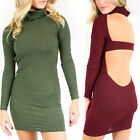 New Sexy Women Party Cowl Neck Backless Hollow Knitted Ribbed Bodycon Mini Dress