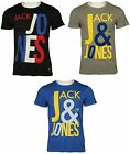 MENS SLIM FIT TSHIRT SHORT SLEEVE JACK & JONES IN BLACK LIGHT GREY COLOURS M-L