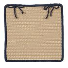Boat House Indoor Outdoor Braided Square Chair Pad, Tan with Navy Blue Border