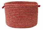 Softex Check Indoor Outdoor Braided Utility Storage Basket, Sangria Red & Tan