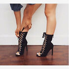 Black Lace Up Peep Toe Ankle Boots Cut Out Sexy Hot Suede High heel Women Shoes