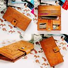 New Handmade Carved Women's Genuine Leather Wallet Purse Zipper Mandala Brown