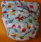 All In One Adult Baby Reusable Cloth Diaper S,M,L,XL Pooh & Friends Go Flying