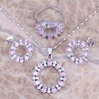 Pink & White Topaz Silver Jewelry Sets Earrings Pendant Ring S0144