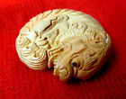 Wood h47龙飾品 Pure hand-carved Boxwood Cute Dragon Brand netsuke beauty handmade