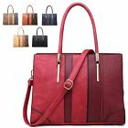 Ladies Faux Leather Snakeskin Two Tone Style Handbag Shoulder Bag Tote MA34505