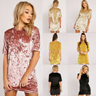 New Womens Ladies Long Sleeve Velvet Velour Bodycon Stretch Evening Mini Dress