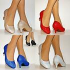Ladies Sparkly Low Kitten Heel Evening Party Bridal Court Shoes Pumps Size/8-19