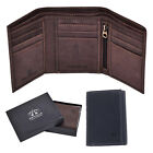Arnicus Mens Distressed Genuine Leather Trifold Wallet - Brown-Gift Boxed - RFID