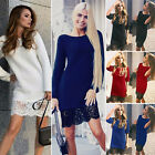 Womens Ladies Lace Long Sleeve Round Neck Jumper Mini Dress Top Sweater Knit S M