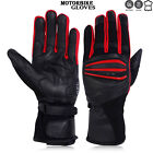 Motorbike Gloves Cowhide Leather GEL Padded Palm All Season Motorcycle RED