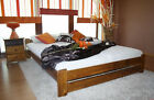Pine Double bed frame Oak colour with Mattress