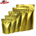 Variety of Sizes for 100pcs Matte Gold Metallic Mylar Foil Stand-Up ZipLock Bags