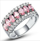 Adorable woman pink & white sapphire 925 silver wedding ring size 6-10