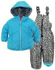 Pink Platinum Little Girls Snowsuit with Animal Print Accents Jacket and Ski Bib