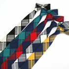 5 Colors Men's Cotton Neck Tie 6 CM Skinny Plaid Checks Necktie Wedding Ties