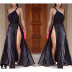 Black   Women One Shoulder Side Split Maxi Party Evening Cocktail Dress