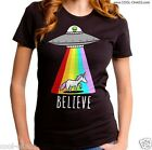 Unicorn,Flying Saucer,Alien,Believe T-Shirt/Truth-Believe in Aliens,Rainbow,LOL