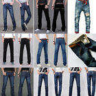 2017 New Men Straight Casual Denim Slim Fit Pants Pencil Trousers Washed Jeans